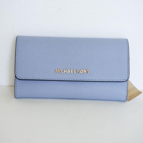c6f11febfda1 Michael Kors Bags | Jet Set Lg Trifold Wallet Pale Blue | Poshmark